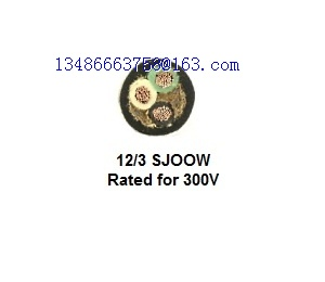 12AWG 3C SJOOW Bulk Electrical Wire 300V Water Oil Resistant Portable Cord