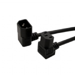 IEC 320 C13 to C14 right angle down angle AC power cord