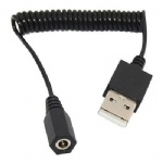 USB A Male to DC 3.5mm x 1.35mm Female Power Jack Coiled Spring Cable Wire Lead