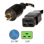 L5-15P to C19 Power Cords  Rated 15 Amps 125V 14/3 SJT