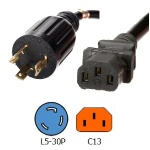 NEMA L5-30P to C13 Power Cords  14/3 SJT Cable 15A/125V