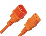Orange Power Extension Cable IEC Kettle Male to Female UPS Lead C13 - C14
