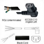 AC Power Cord ROJ to IEC 60320 C13 Left Angle Connector