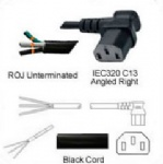 AC Power Cord ROJ to IEC 60320 C13 Right Angle Connector