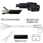 AC Power Cord ROJ to IEC 60320 C19 Left Angle Connector