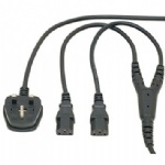 UK Plug to 2 x IEC Kettle Lead Power Cable Splitter