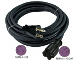 NEMA 5-20 20-Amp T-Blade SJOOW 12AWG Anti-Weather
