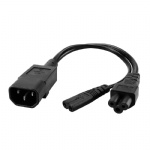 IEC 3Pole C14 Male to C5 & C7 2 in 1 Y Split Power Cord