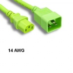 Green 6Ft AC Power Cord Cable C13 to C20 14AWG 15A SJT for Server Network