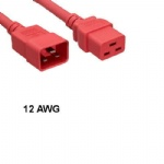 Red 2 Feet Extension Power Cable C19 to C20 12 AWG 20A for Server Network