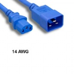 Blue 3 Ft AC Power Cord Cable C13 to C20 14AWG 15A SJT