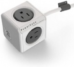 POWERCUBE Dual USB Port Power Strip with 4 Outlets Electrical Outlet 5ft US Wire Extension Cord (Grey) by PowerCube