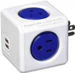 PowerCube 4 Outlets Dual USB Port Surge Protector Wall Adapter Power Strip with Resettable Fuse