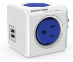 USB Wall Plug, Allocacoc PowerCube |Original|, 4 Outlets and 2 USB Ports, Cell Phone Charger, Power Adapter, Surge Protection, Compact for Travel, Home and Office, Space Saving, ETL Certified