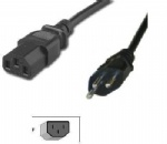 Swiss ESTI certified 3 prong IEC C13 power cord receptacle